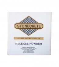 STONECRETE RELEASE POWDER, FOR THE COLOURING OF THE JOINTS AND OVERSHADOWING THE FINAL CONCRETE SURFACE AND THE DETACHMENT OF THE ELASTIC MOULDS FROM THE CONCRETE SURFACE AFTER STAMPING