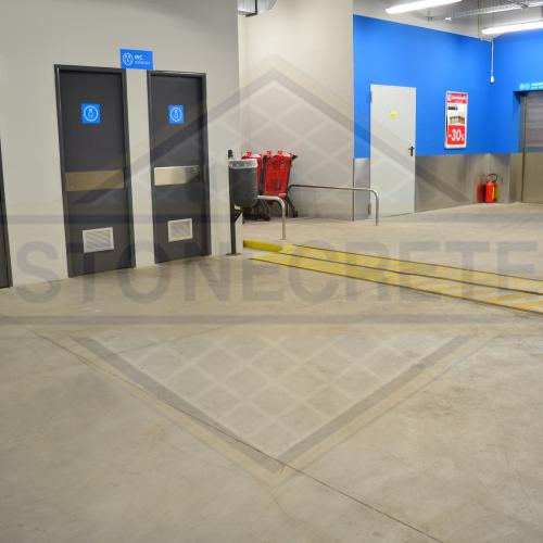 STONECRETE INDUSTRIAL FLOORS AND SAFETY RAMPS, CONSTRUCTED WITH THE USE OF STONECRETE COLOUR HARDENERS AND SEALER WITH STONECRETE SUPER PENETRATING SEALER